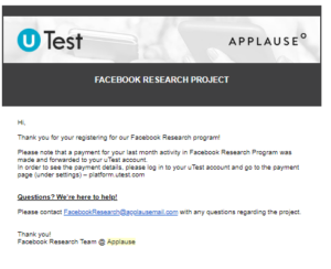 Facebook Research App Payment Confirmation Mail