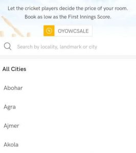 Select City in OYO app